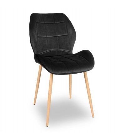 RICO CZARNE krzesło tapicerowane VELVET