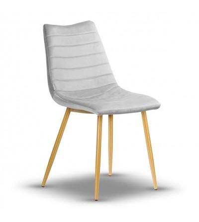 PABLO JASNY SZARY krzesło tapicerowane velvet