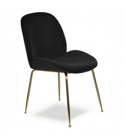 MODEST CZARNE krzesło tapicerowane velvet