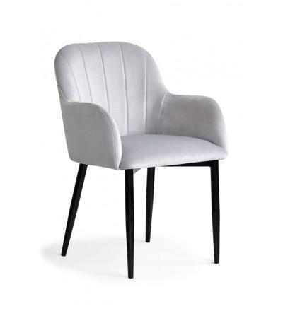 IVETT jasno szare/srebrne krzesło tapicerowane velvet