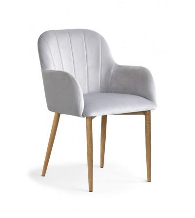 IVETT jasno szare/srebrne krzesło tapicerowane velvet DĄB