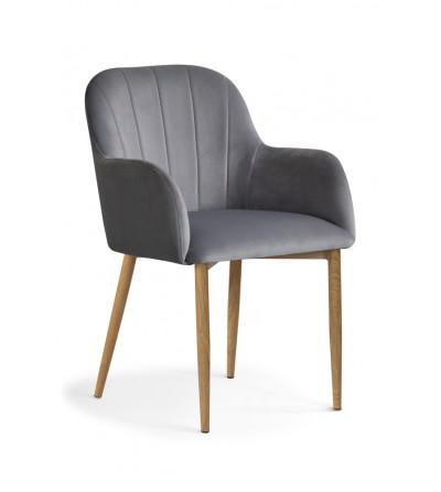 IVETT SZARE krzesło tapicerowane velvet DĄB