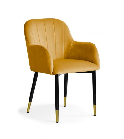 IVETT MUSZTARDOWE krzesło tapicerowane velvet noga czarno-złota