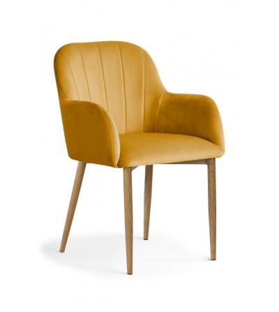 IVETT MUSZTARDOWE krzesło tapicerowane velvet DĄB