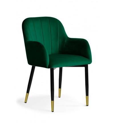 IVETT ZIELONE krzesło tapicerowane velvet nogi czarno-złote