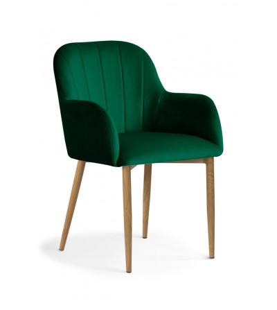 IVETT ZIELONE krzesło tapicerowane velvet DĄB