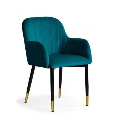 IVETT TURKUSOWE krzesło tapicerowane velvet nogi czarno-złote