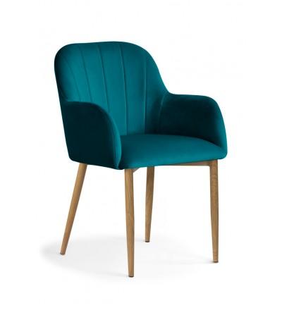 IVETT TURKUSOWE krzesło tapicerowane velvet DĄB