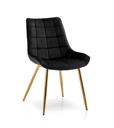 KAIR CZARNE krzesło tapicerowane velvet