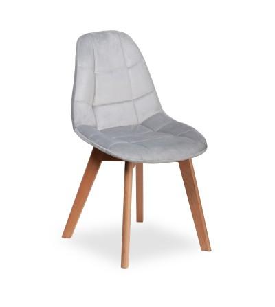 AMELIA JASNO SZARE krzesło tapicerowane velvet