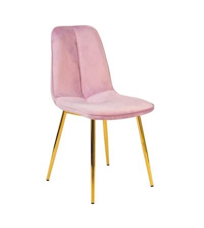 LENA RÓŻOWE JASNE krzesło tapicerowane velvet