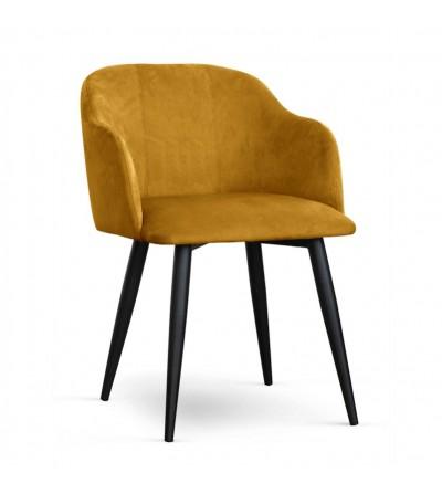 DANY MUSZTARDOWE krzesło tapicerowane velvet