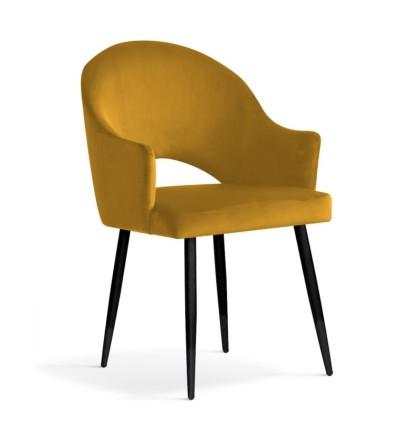 GLORIA MUSZTARDOWE krzesło tapicerowane velvet