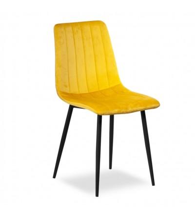 EVAN ZÓŁTE krzesło tapicerowane velvet